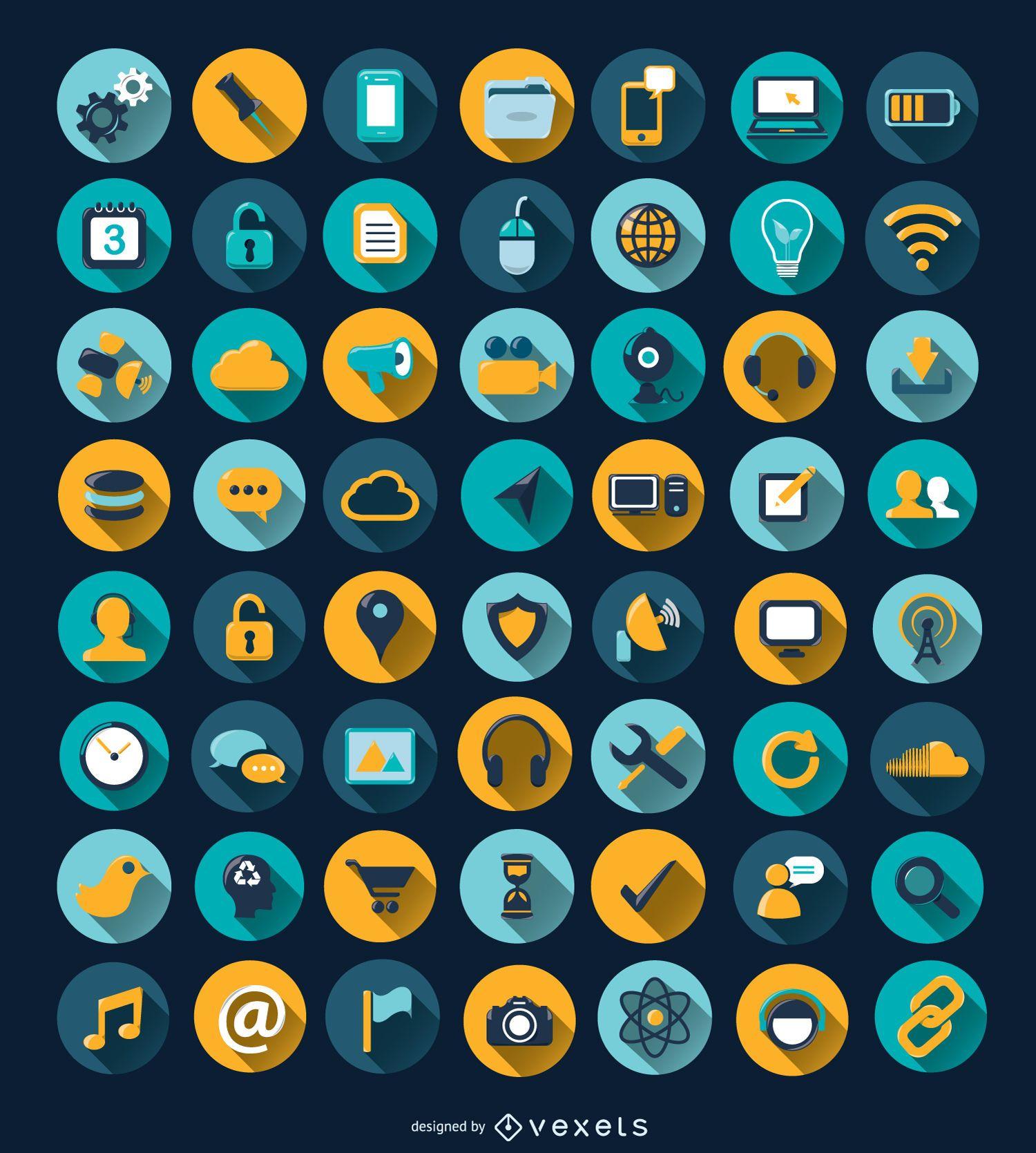 56 computer long shadow circle icons