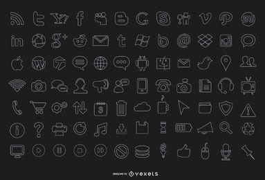 84 iconos de computadora de trazo
