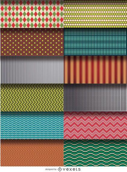 Conjunto de 12 patrones y texturas.