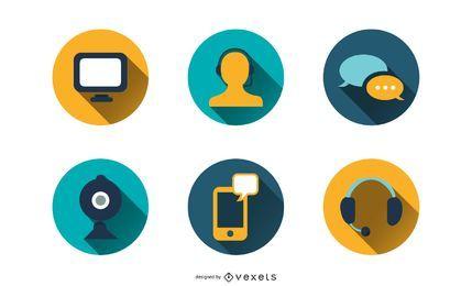 Paquete de iconos de contacto de chat CRM