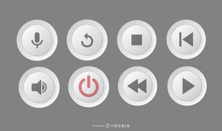 Pack de círculos de botones de reproductor multimedia
