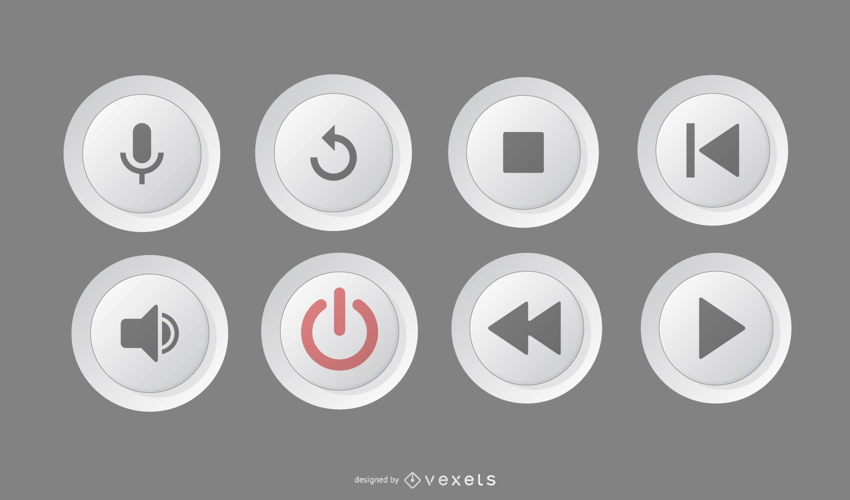 Paquete de círculos de botones de reproductor multimedia