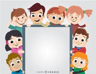 O grupo das crianças que prende o cartaz