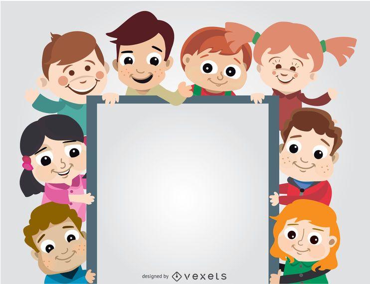 Grupo de crianças segurando cartaz