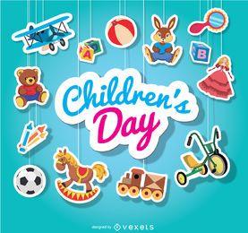 Dia das crianças brinquedos pendurados