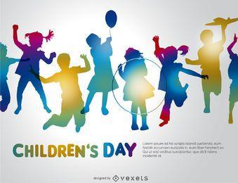 Bunte Silhouetten der Kinder Tag