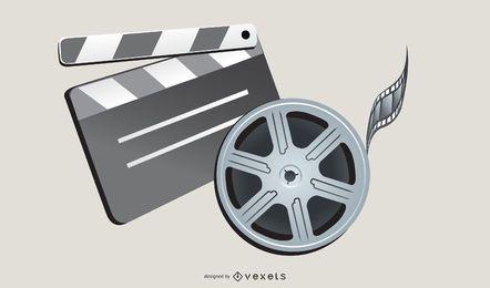 Equipos de cine de tira de película de claqueta