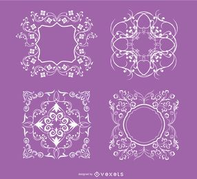 4 Floral swirls ornaments