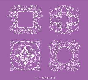 4 ornamentos florais redemoinhos