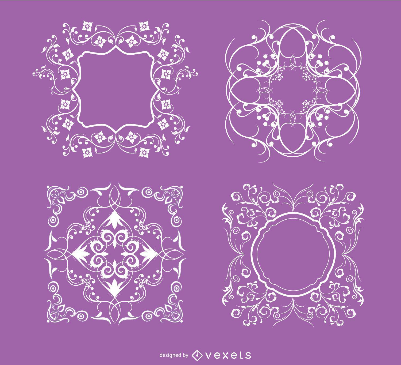 4 Floral swirls ornaments