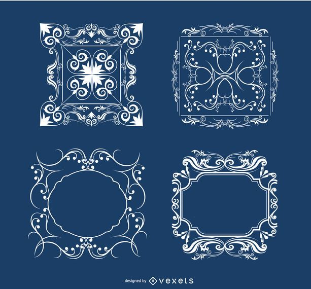 4 Floral ornaments frames