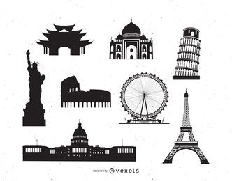 Berühmtes Weltdenkmal Pack Silhouette