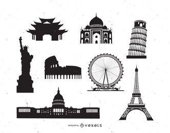 Silueta de paquete de monumentos famosos del mundo