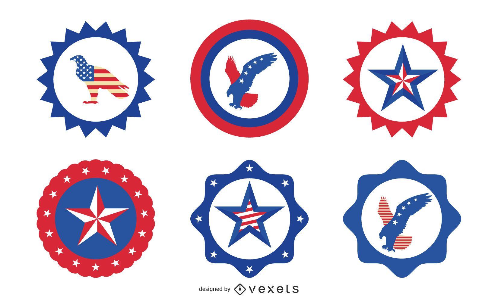 Conjunto de insignias redondas del día de la independencia