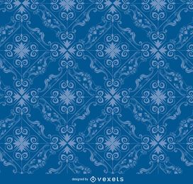 Rhomb swirls blue pattern