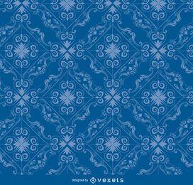 Rhomb swirls blue pattern