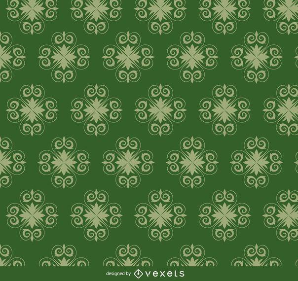 Star swirls green pattern