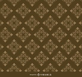 Rhomb golden floral pattern