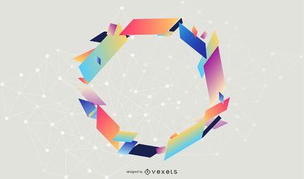 Banner de triángulos de marco circular colorido
