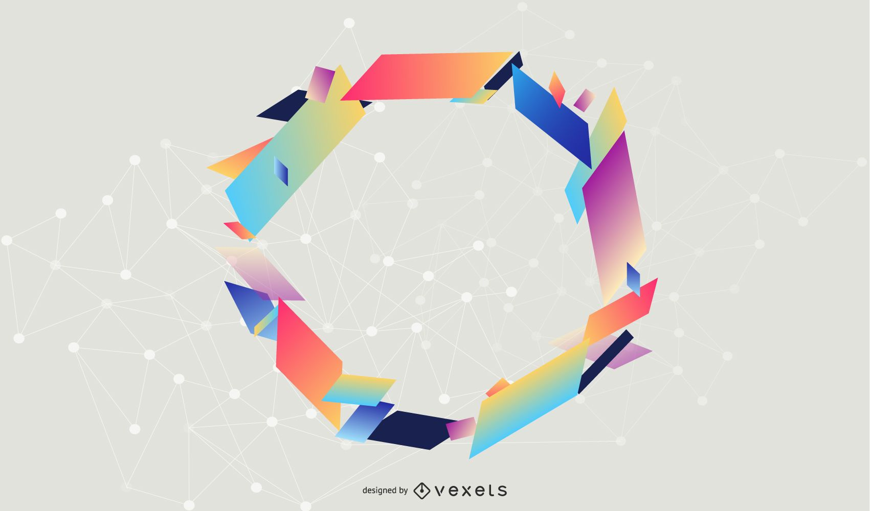 Colorful Circular Frame Triangles Banner