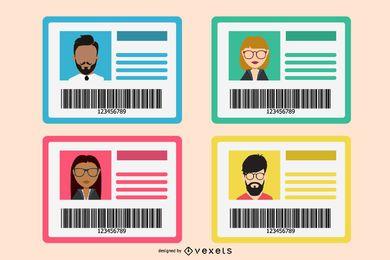 Conjunto de maquete de cartão de identificação plana