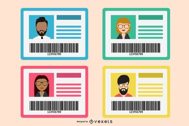 Flat Identification Card Mockup Set