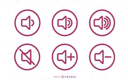Flat Sound Volume Icon Set