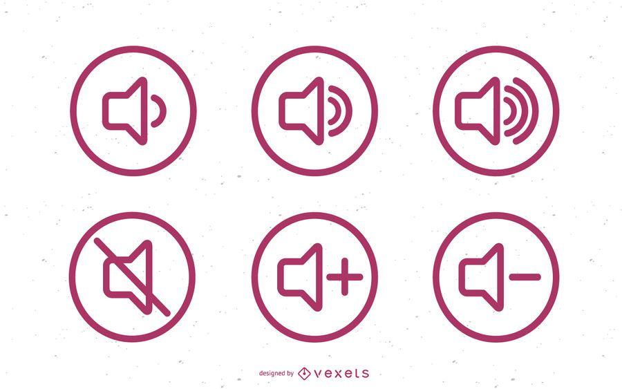 Conjunto de ícones de volume de som plano