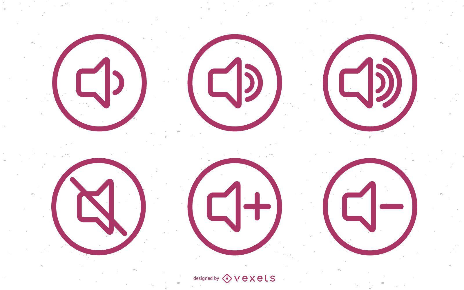 Conjunto de iconos de volumen de sonido plano