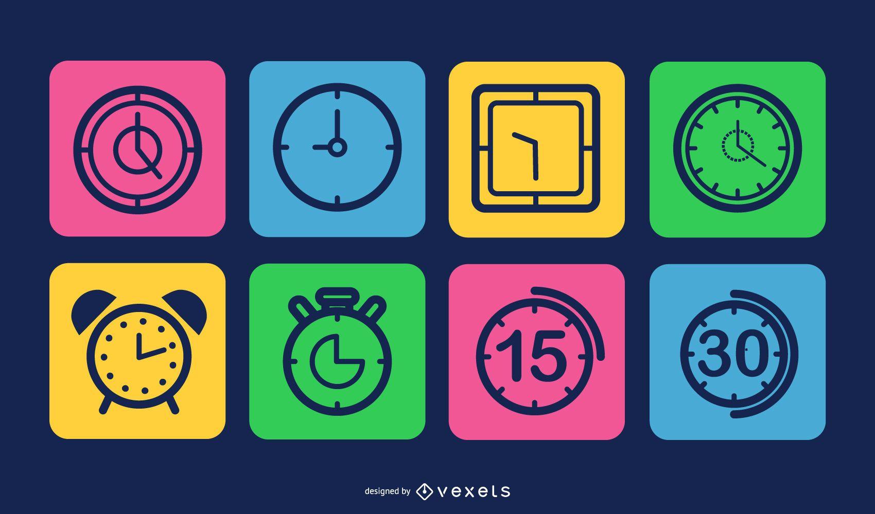 Pacote de quadrados coloridos de ícones de relógio
