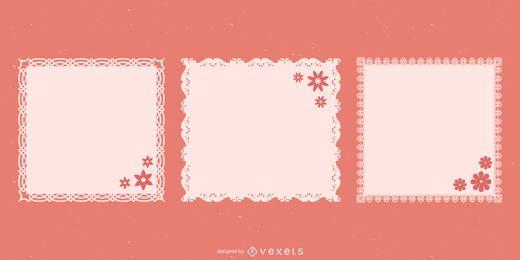 Pacote de quadrados decorativos de renda guardanapo