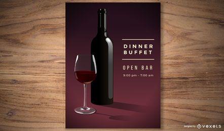 Cartel del partido del vino rojo