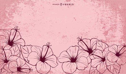 Flores de hibisco ilustrado de mão desenhada