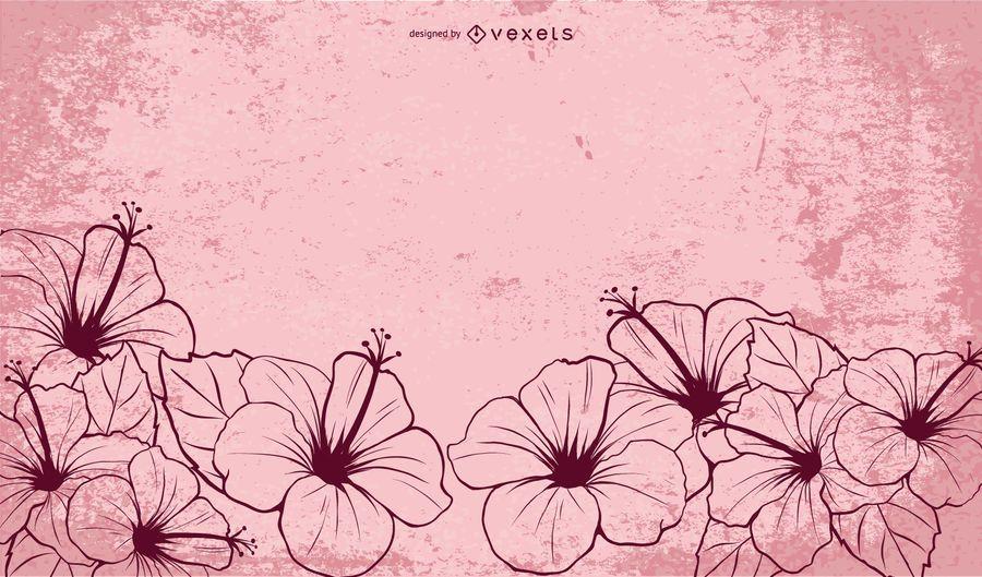 Dibujado a mano ilustrado flores de hibisco
