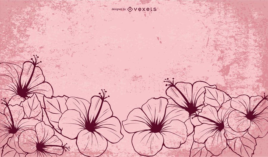 Hand Drawn Illustrated Hibiscus Flowers