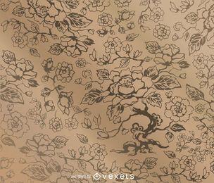 Patrón floral vintage con texturas.