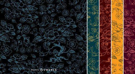 5 padrões vintage de flor