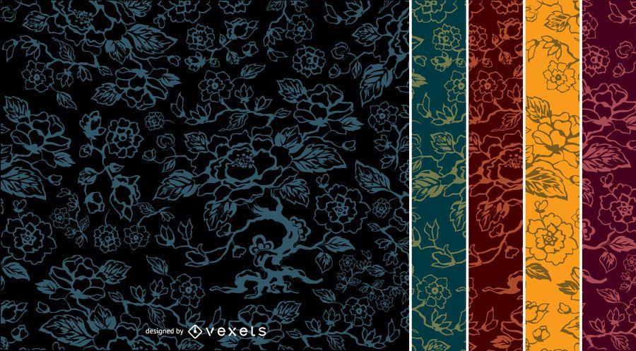 5 Flower vintage Patterns