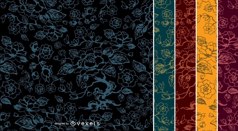 5 Flower vintage Patterns