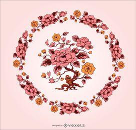 Ornamento único de la flor del vintage