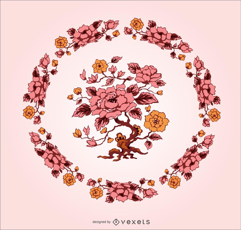 Ornamento de flor vintage exclusivo