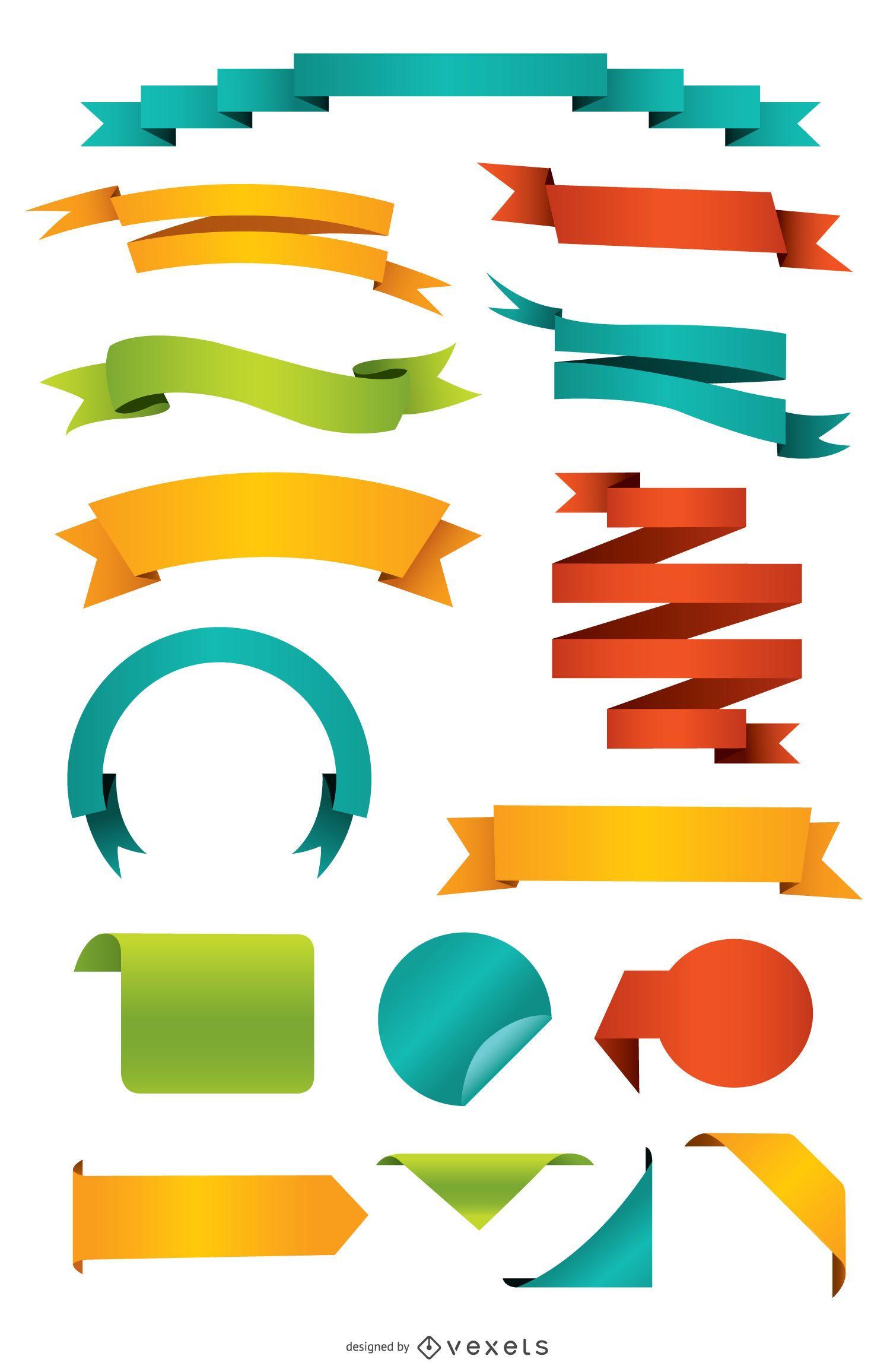 Conjunto de cintas y etiquetas de colores