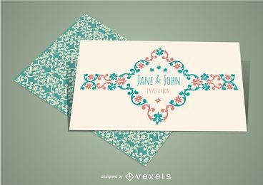Convite elegante do casamento do vintage