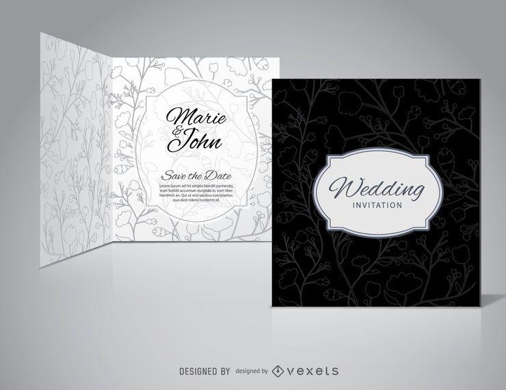 Invitación de boda negra floral