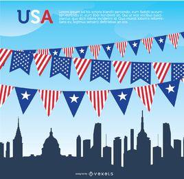 USA-Wimpel und Skyline
