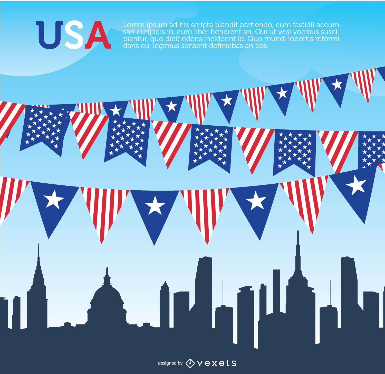 USA pennants and Skyline