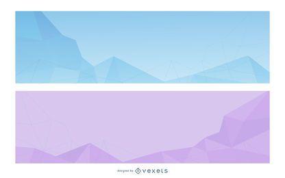 Conjunto de banners de triángulos abstractos cristalizados