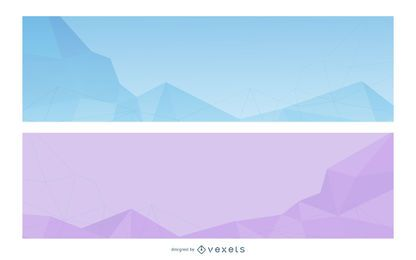 Kristallisierte abstrakte Dreiecke Banner Set