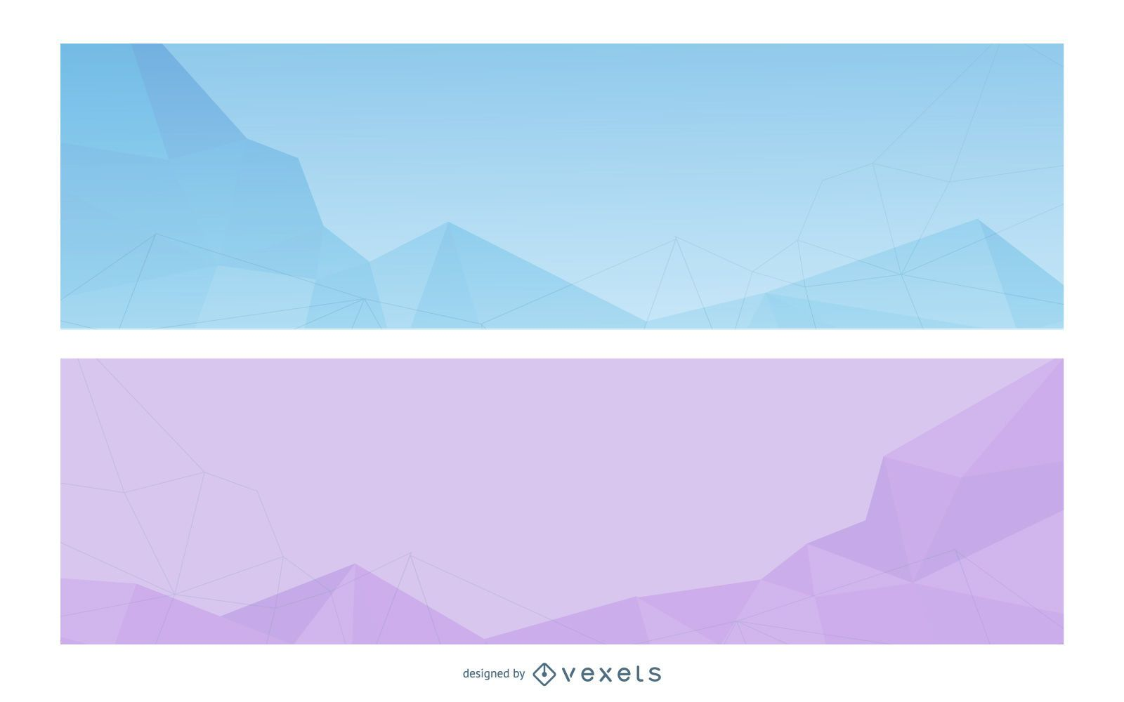 Crystallized Abstract Triangles Banner Set