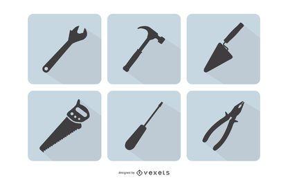 Conjunto de herramientas de construcción plana
